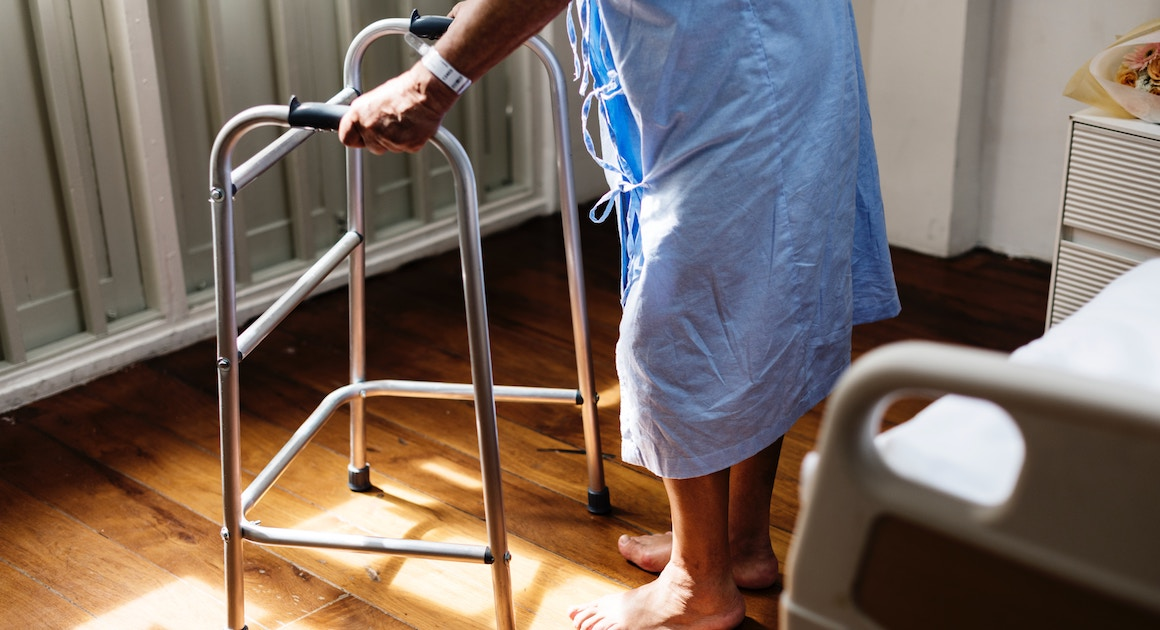 Medicare patient with a walker in a nursing home