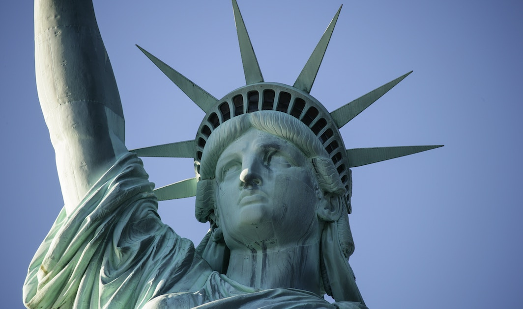 close-up of the Statue of Liberty